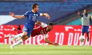 Chelsea's Cesar Azpilicueta (left) fouls Arsenal's Pierre-Emerick Aubameyang .