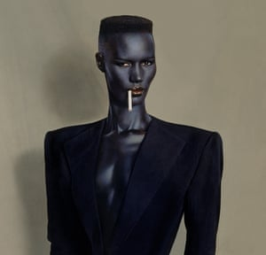 'I wanted to focus on her masculinity – to use what other people thought an embarrassment, and turn it to her advantage.' Grace Jones, blue-black in black on brown, painted photo, New York, 1981.