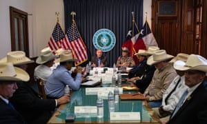 If the hat fits. Greg Abbott speaks during a border security briefing with sheriffs from border communities at the Texas State Capitol on July 10 in Austin, Texas.