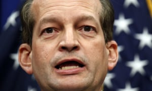 Labor Secretary Alex Acosta speaks at the Department of Labor, Wednesday, July 10, 2019, in Washington.