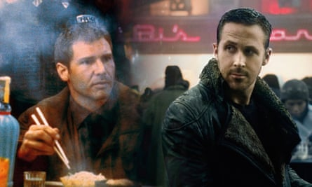 Harrison Ford in Blade Runner and Ryan Gosling as Officer K in the sequel