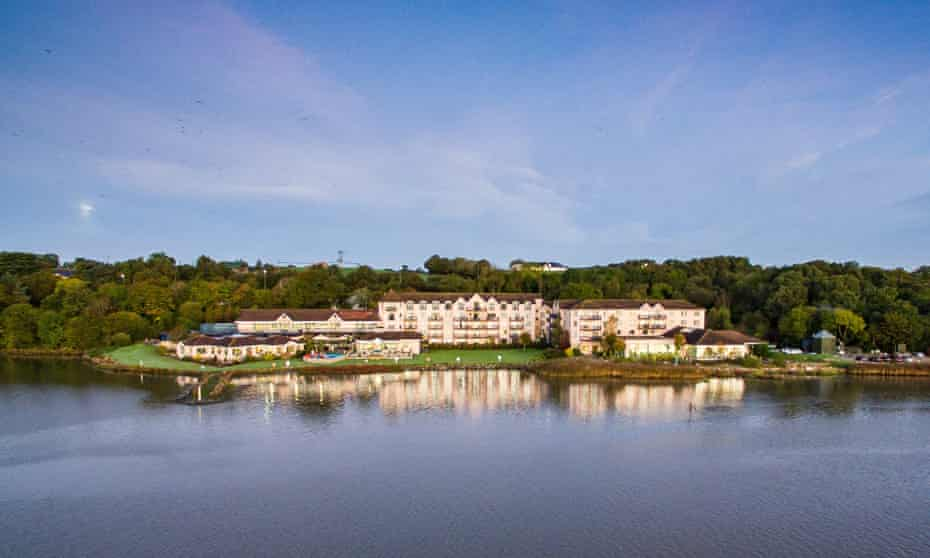 View across water to Ferrycarrig hotel, County Wexford, Ireland.