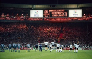 Heartbreak: 26 Jun 1996Germany's players celebrate as Gareth Southgate misses the critical penalty for England in their 1996 semi-final at Wembley. Southgate skied his spot-kick, England's sixth, before Andreas Möller buried his to send the Germans through to the final.
