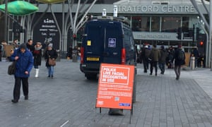 Police deploy their live facial recognition technology outside the Stratford Centre.
