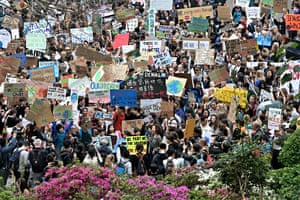 Students take part in a protest against climate change in Hong Kong.