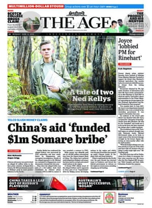 The front page of the Age,