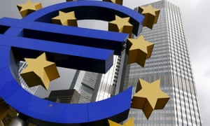 The euro symbol outside the European Central Bank in Frankfurt, Germany