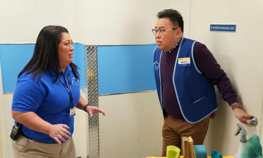 'The trivial and often annoying interactions of the workplace' … Cloud 9 workers Sandra (Kaliko Kauahi) and Mateo (Nico Santos).
