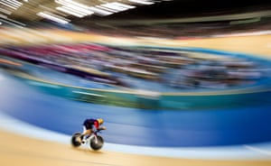 Wiggins during his record hour cycling attempt at the Lee Valley Velopark, London.