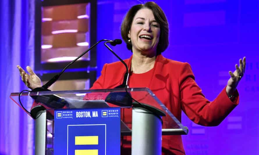 Amy Klobuchar speaks at the HRC New England dinner on Saturday in Boston.