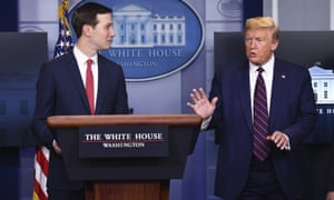 Jared Kushner joins Donald Trump at a White House briefing