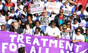 A protest outside the Aids conference in Durban