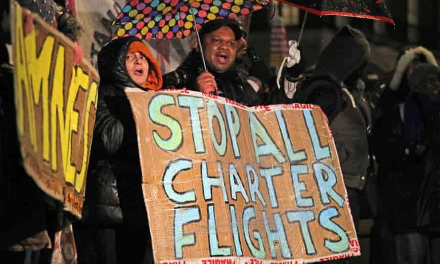 People protest outside Downing Street against a deportation flight to Jamaica in February