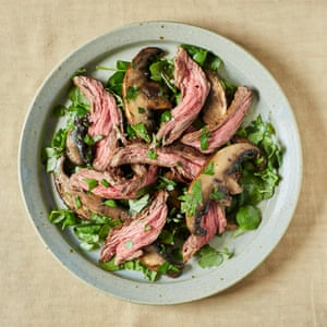 Grilled flank steak ribbons with field mushrooms, Polpo style.