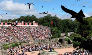 birds perform during a show at French historical theme park Le Puy du Fou in 2018.