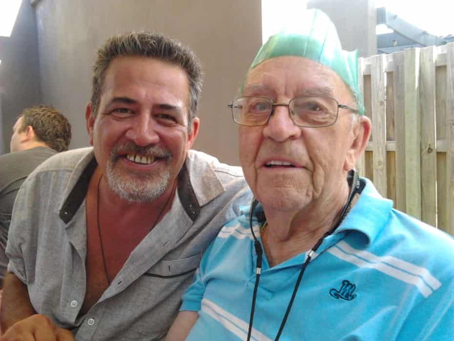 Shane Thompson and his late father Don on Christmas Day two years ago. Don was a resident at Bupa Pottsville Beach, NSW for three-and-a-half years and his son quit full time work to monitor his care at the nursing home