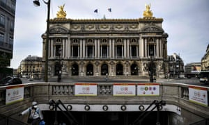 A metro station in front of the Opera Garnier in Paris, which along with the Bastille, could close its doors until the summer of 2021.