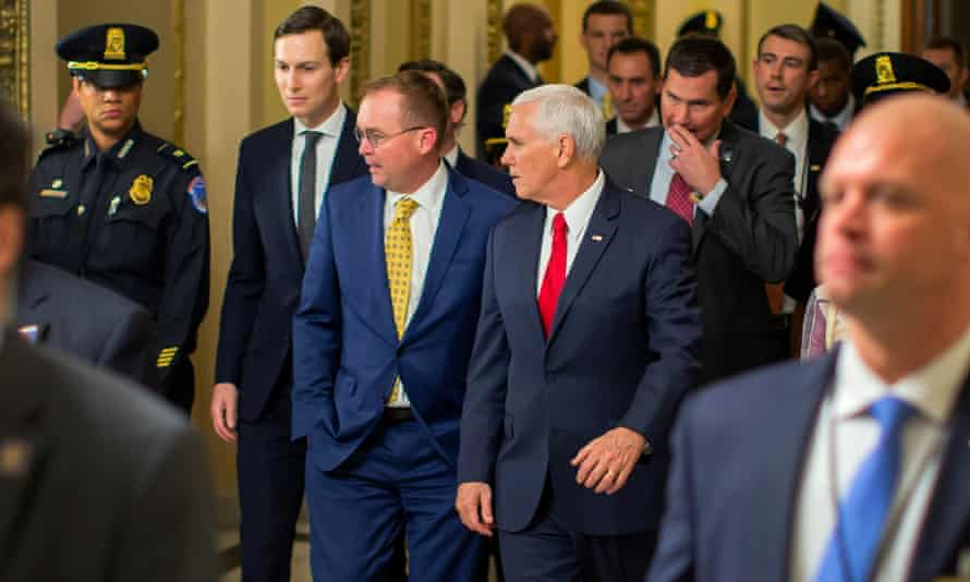 Jared Kushner, Mick Mulvaney and Mike Pence arrive on Capitol Hill for talks.