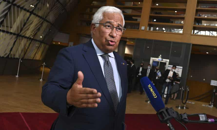 António Costa at the European Council building in Brussels