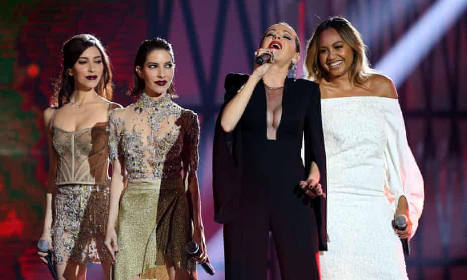Tina Arena (second from right) takes Carla Zampatti to the 2015 Aria Awards in 2015. With Lisa and Jessica Origliasso de les Veronicas (left) and Jessica Mauboy (far right).