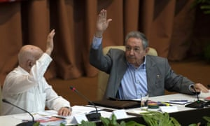 President Raúl Castro, right, and José Ramón Machado Ventura, second secretary of the central committee, vote during a session of the seventh congress of the Cuban Communist party in Havana on Monday.
