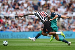 Kenedy is challenged by Eric Dier.