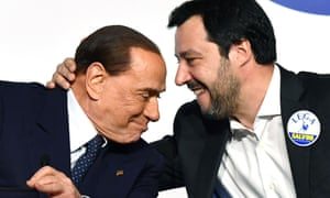Silvio Berlusconi, left, with his coalition partner Matteo Salvini, head of the far-right Northern League.