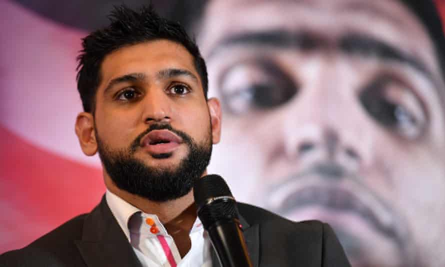 Amir Khan speaking during Tuesday's press conference.