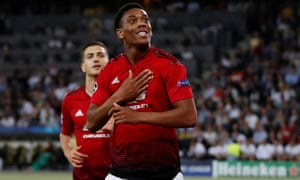 Manchester United's Anthony Martial celebrates scoring their third goal