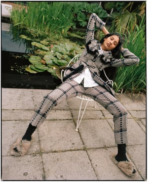 Jacket, £1,475, and trousers, £525, by Simone Rocha from Selfridges. Shirt, £595, faux fur slides, £325, and socks, £120, by Simone Rocha (93 Mount Street, London W1, 020-7629 6317).