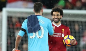 Mohammed Salah is congratulated by Watford's Orestis Karnezis after his four goals.