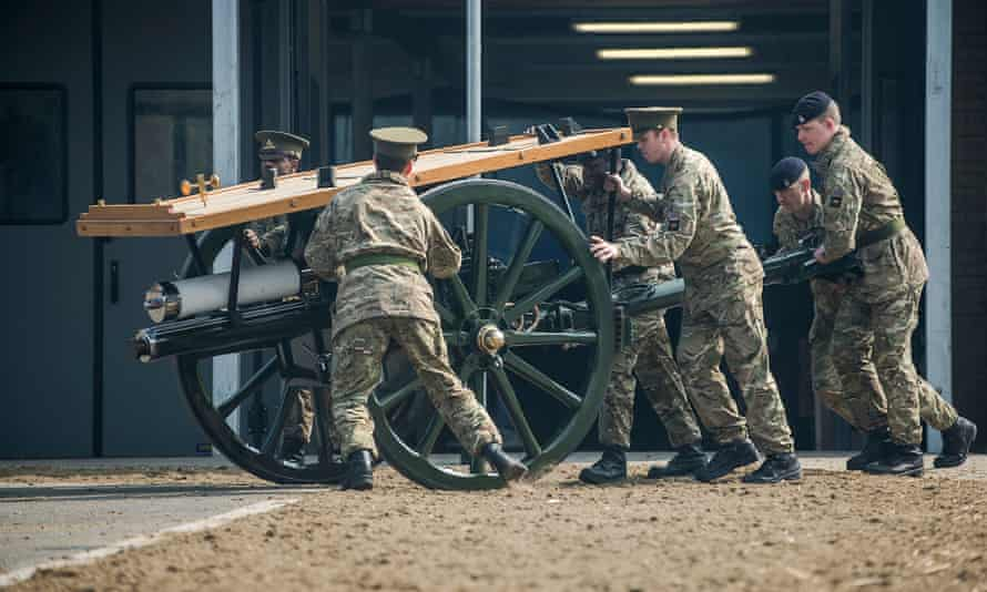 The ceremonial gun carriage being moved