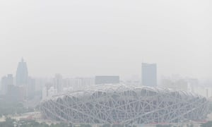Beijing's Bird's Nest Stadium, built for the 2008 Olympic Games, on a polluted day in Beijing in June 2019
