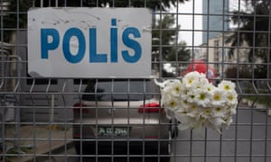 Flowers outside the Saudi Arabian consulate in Istanbul