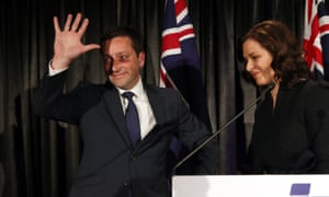 Former Victorian Liberal party Matthew Guy and wife Renae as he concedes defeat in the Victorian state election.