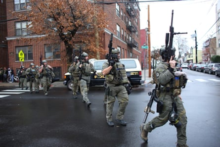 The scene in Jersey City. Swat teams, state police and federal agents responded and police blocked off the area.