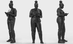 A composite image showing different views of Thomas J Price's new sculpture, Reaching Out.