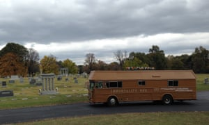 Zoltan Istvan's Immortality Bus at a cemetery in Memphis.