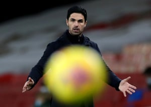 Mikel Arteta watches during the 4-1 home loss to Manchester City in the Carabao Cup.