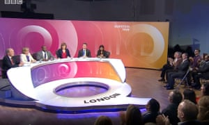 Screen grab of Question Time whose location was changed suddenly from Bolton to London.