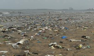 Plastic waste pictured on Juhu beach in Mumbai.