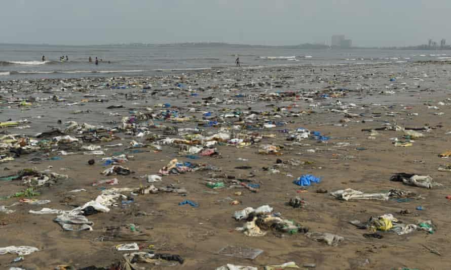 Plastic waste pictured on Juhu beach in Mumbai.