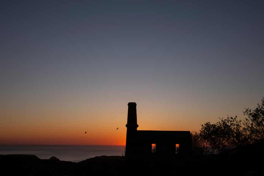 The engine House at Kudhva, built in 1871, at sunset over Gull Rock