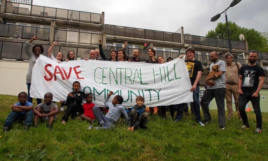 People campaign to save Central Hill estate in 2015.