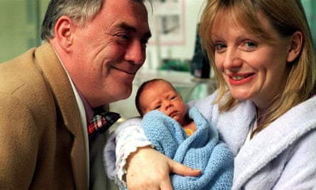 Tracy Brabin as Tricia Armstrong in Coronation Street, with William Tarmey as Jack Duckworth.