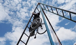 Plaza is the only disabled street workout athlete who uses a wheelchair