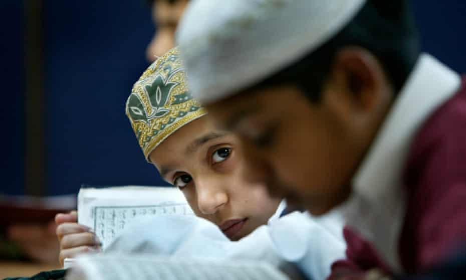 Children at the Victor Street Mosque in Bradford