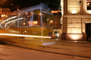 Tram in Budapest caught with flash.Was trying to get effect of moving tram only to get this ghost tram image. This is in the Buda area of Budapest, near the Chain Bridge Photograph: BAMC01/GuardianWitness