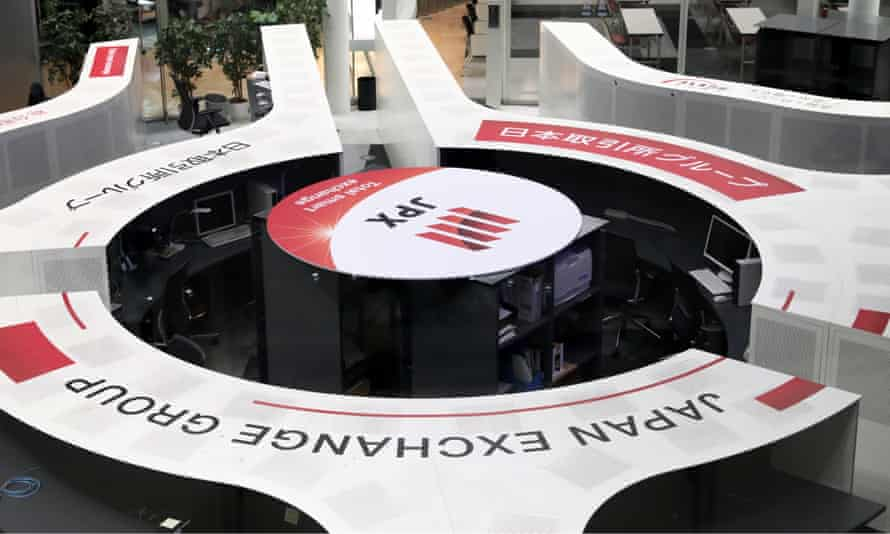 The empty trading space of the Tokyo Stock Exchange, where trading was halted due to a glitch on the market