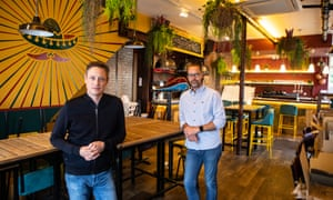 Brett Cahill-Moreno, left, and Al Bramley, owners of the Mexican restaurant on Ware High Street, have managed to remain trading by offering takeaways.